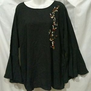 Philosophy 2X Boho Bell Sleeve Embroidered Tunic